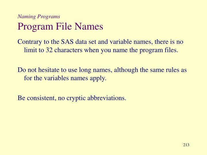 Naming Programs