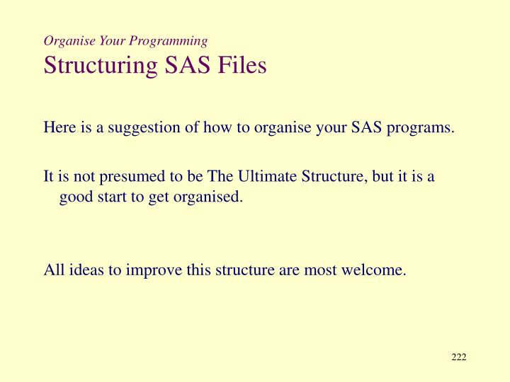Organise Your Programming