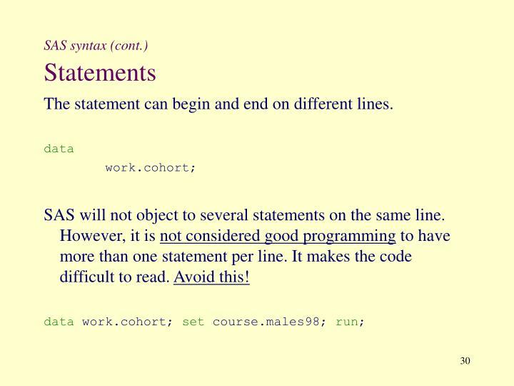 SAS syntax (cont.)