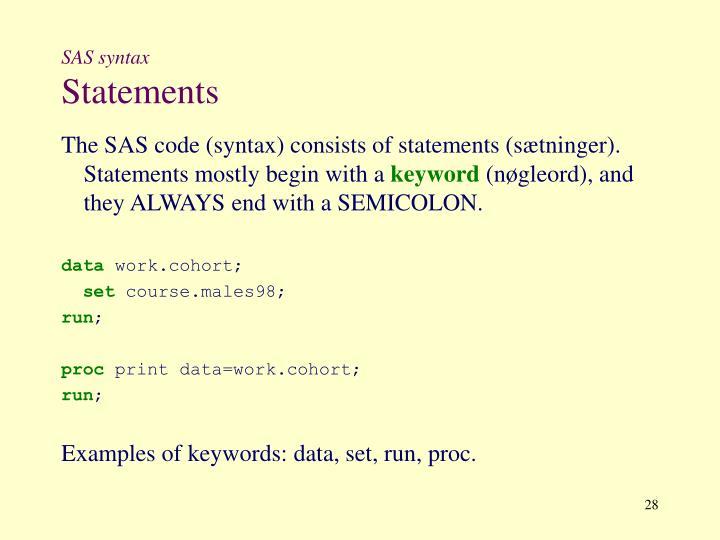 SAS syntax