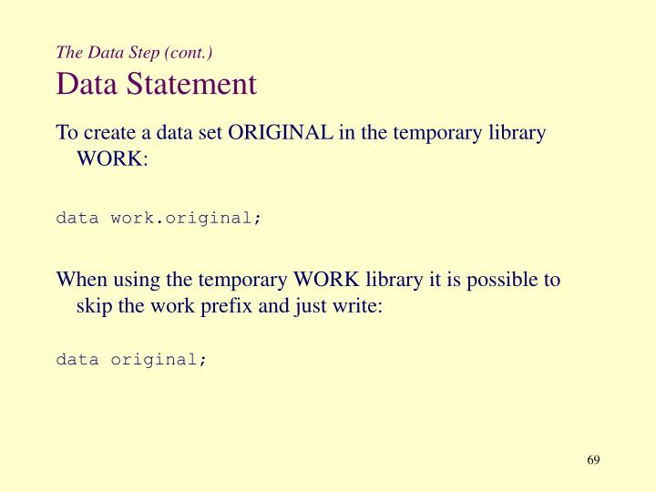The Data Step (cont.)