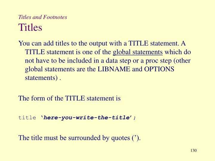 Titles and Footnotes
