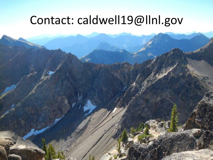 Contact: caldwell19@llnl.gov