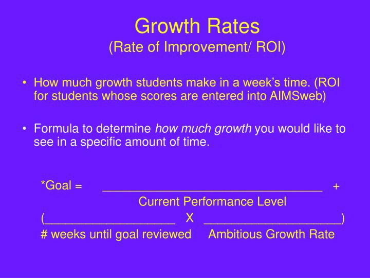 Growth rates rate of improvement roi