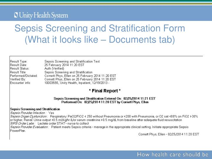 Sepsis Screening and Stratification Form