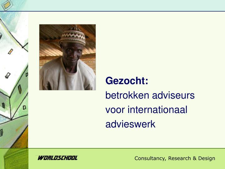 Gezocht betrokken adviseurs voor internationaal advieswerk