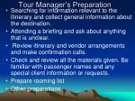 tour manager s preparation
