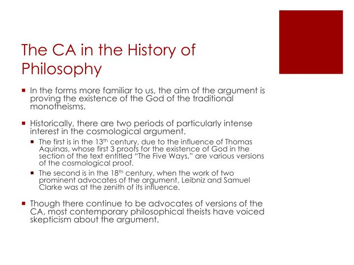 The ca in the history of philosophy