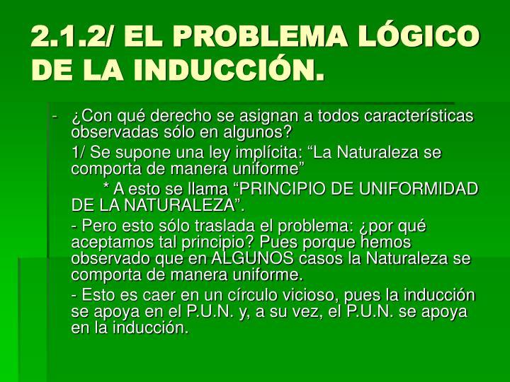 2.1.2/ EL PROBLEMA LÓGICO DE LA INDUCCIÓN.