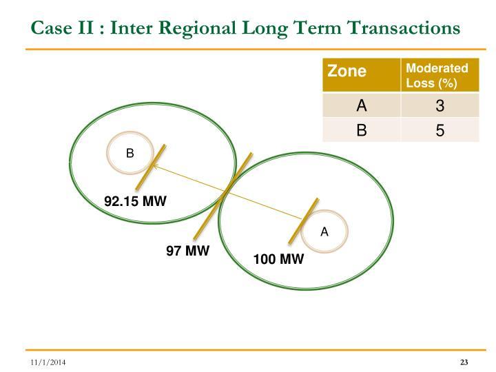Case II : Inter Regional Long Term Transactions