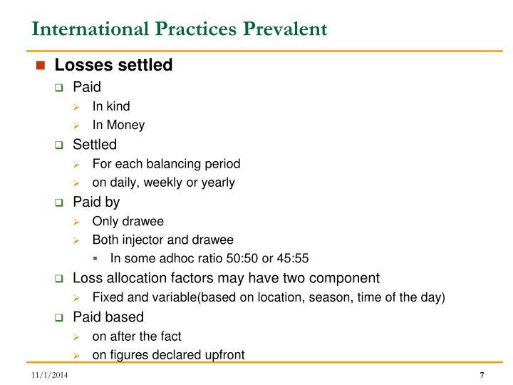 International Practices Prevalent
