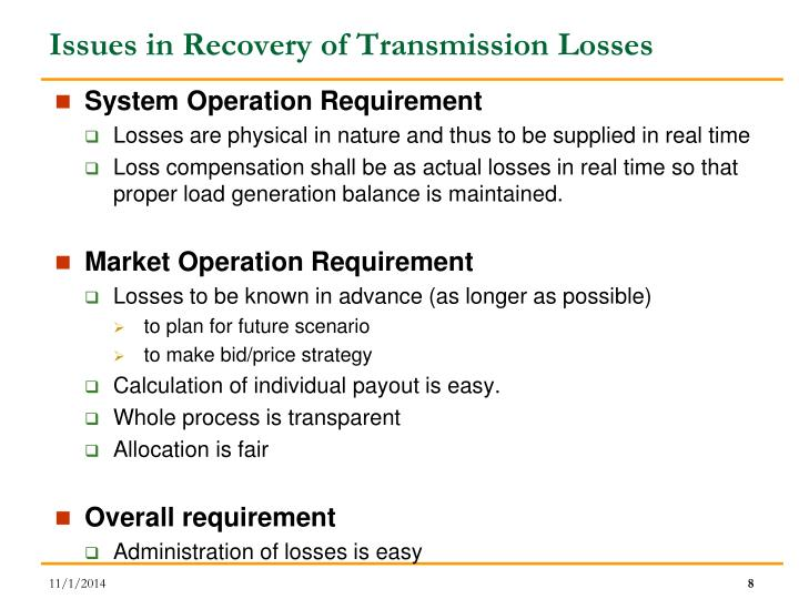 Issues in Recovery of Transmission Losses