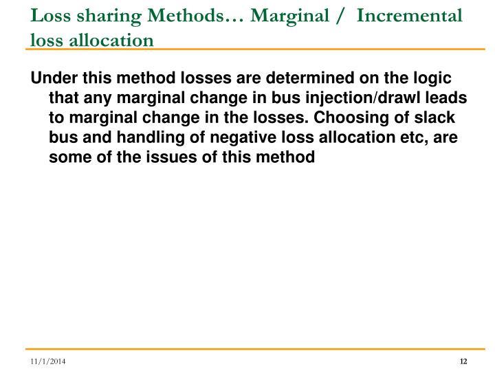 Loss sharing Methods… Marginal /  Incremental loss allocation
