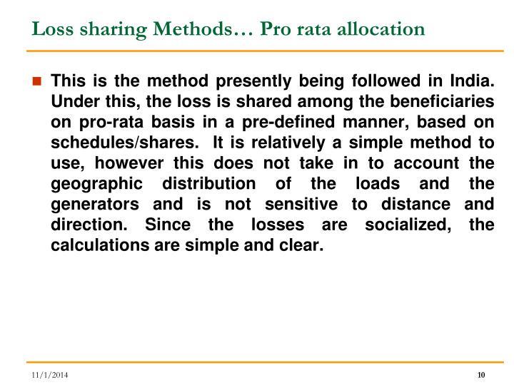 Loss sharing Methods… Pro rata allocation
