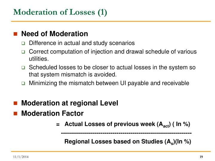 Moderation of Losses (1)