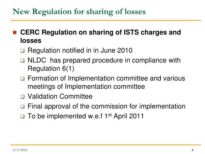 New Regulation for sharing of losses