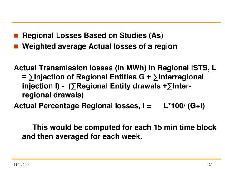 Regional Losses Based on Studies (As)