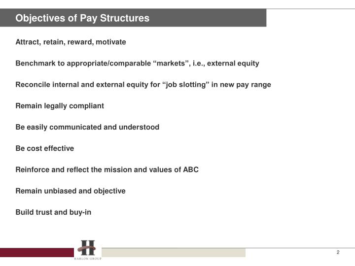 Objectives of pay structures