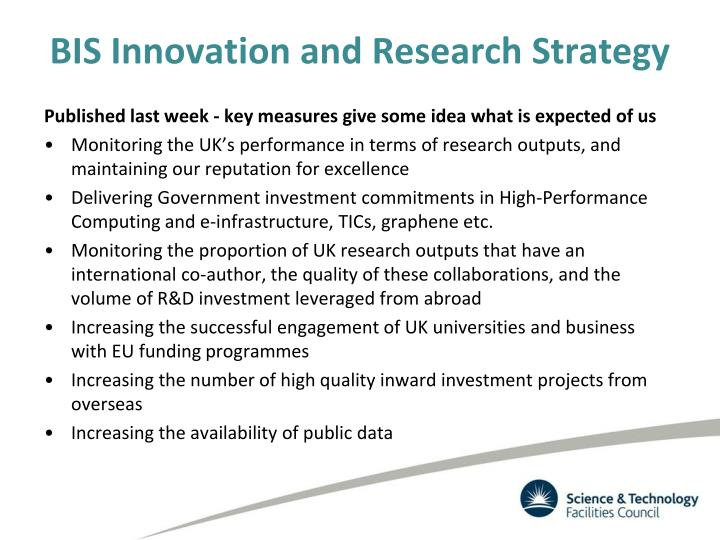 BIS Innovation and Research Strategy