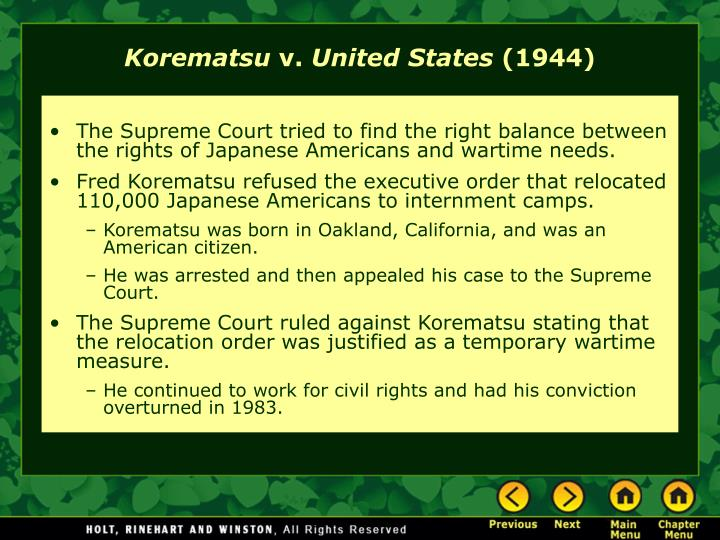 essay on korematsu v united states Get solution at australianwritingacademycom no plagiarism in korematsu v united states, how do the opinions of justices black and murphy differ in terms of the standard that must be met in order to justify an abridgement of constitutionally protected liberties.