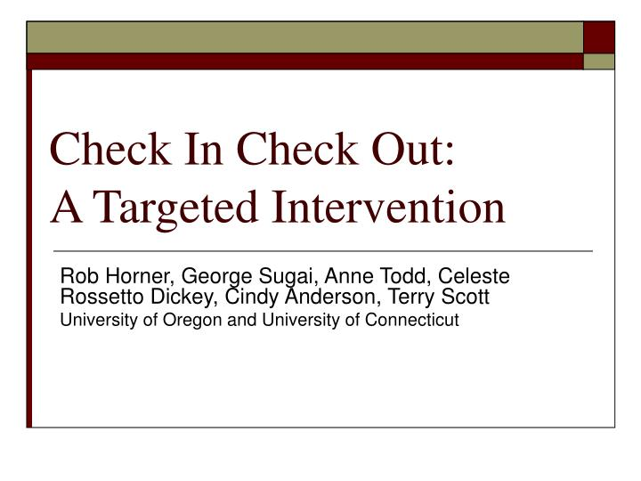 Check in check out a targeted intervention