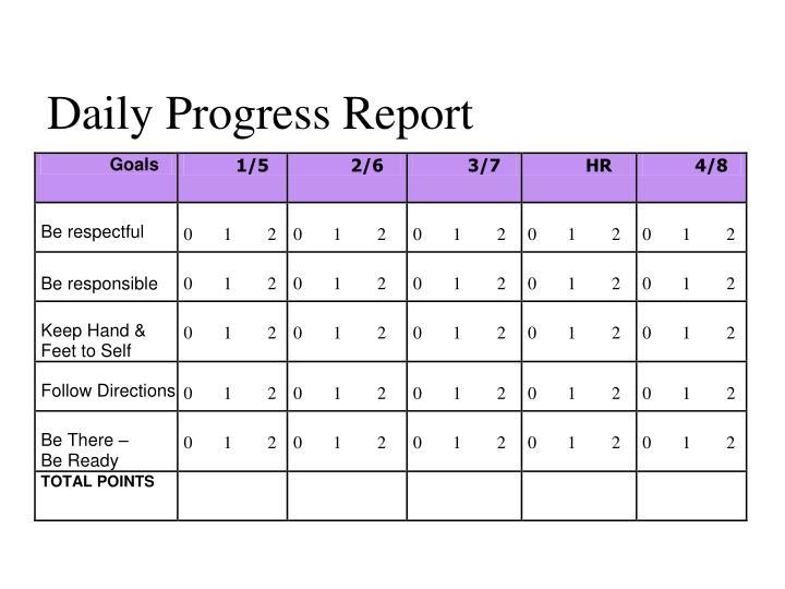 Daily Progress Report