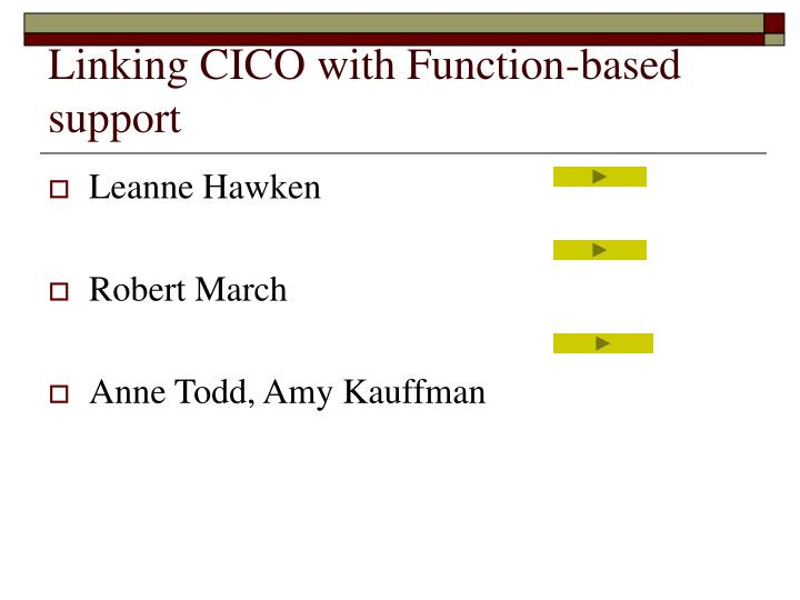 Linking CICO with Function-based support
