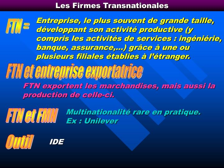 Les Firmes Transnationales