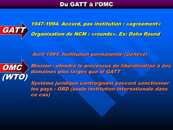 Du GATT à l'OMC