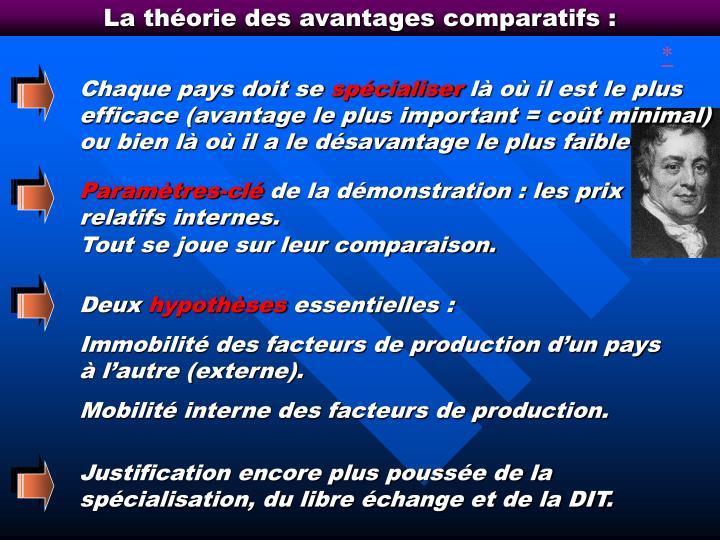 La théorie des avantages comparatifs :