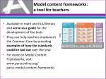 model content f rameworks a t ool for teachers