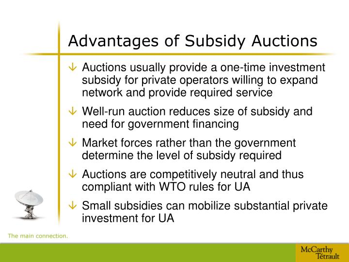 Advantages of Subsidy Auctions