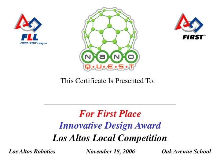 For first place innovative design award