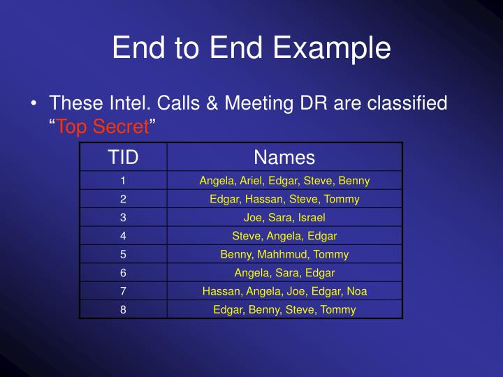 End to End Example