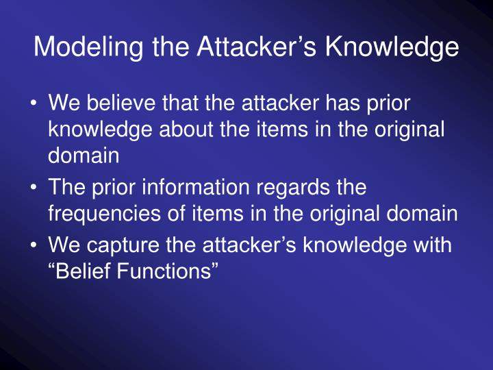 Modeling the Attacker's Knowledge