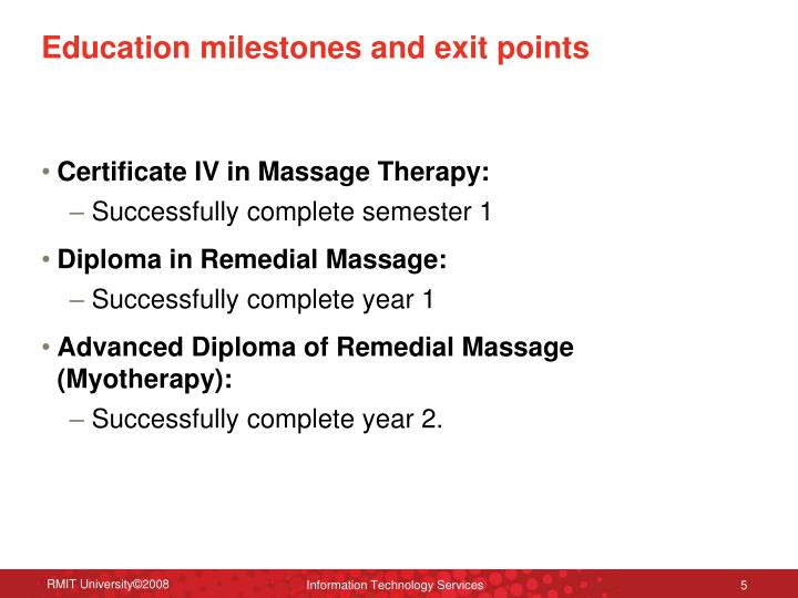 Education milestones and exit points