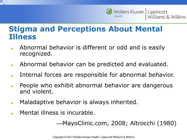 Stigma and Perceptions About Mental Illness