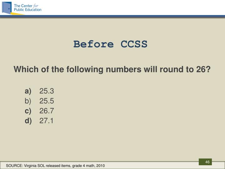 Before CCSS