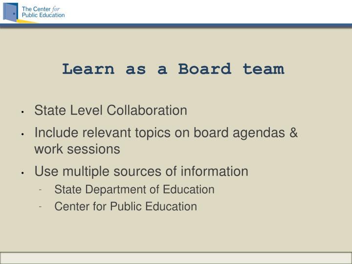 Learn as a Board team