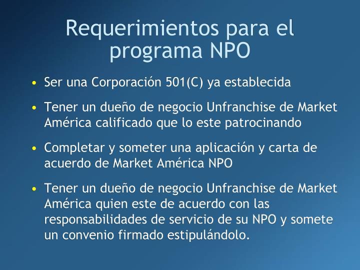 Requerimientos para el programa NPO