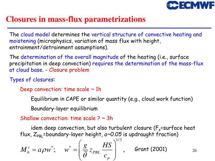 Closures in mass-flux parametrizations
