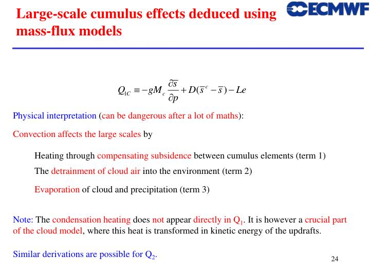 Large-scale cumulus effects deduced using mass-flux models