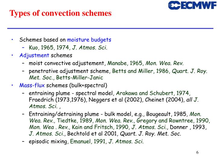 Types of convection schemes