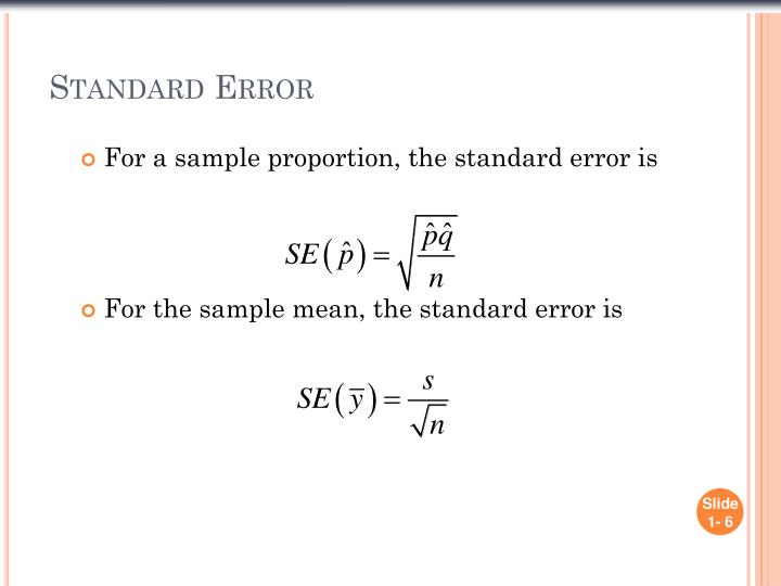 For a sample proportion, the standard error is