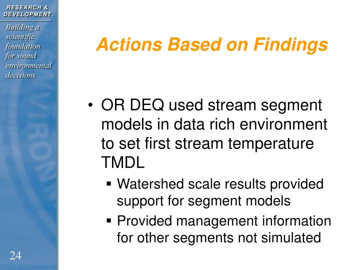Actions Based on Findings