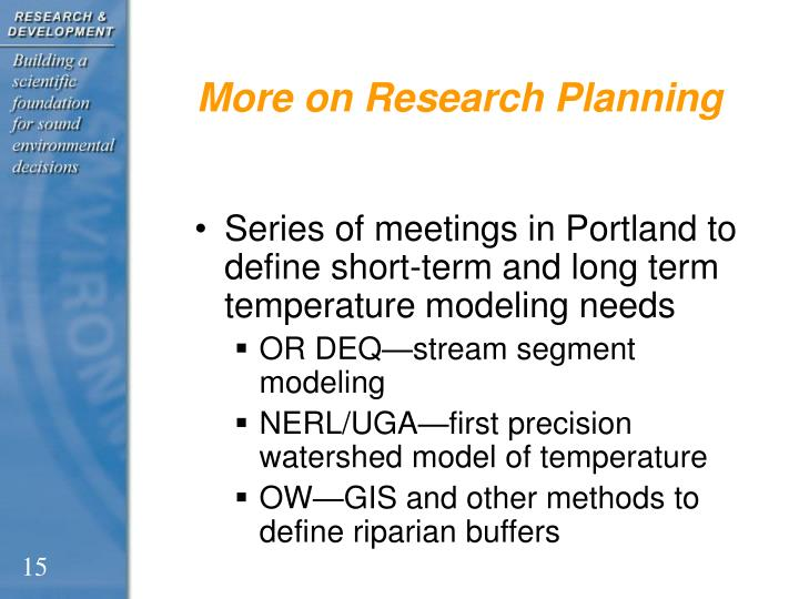 More on Research Planning
