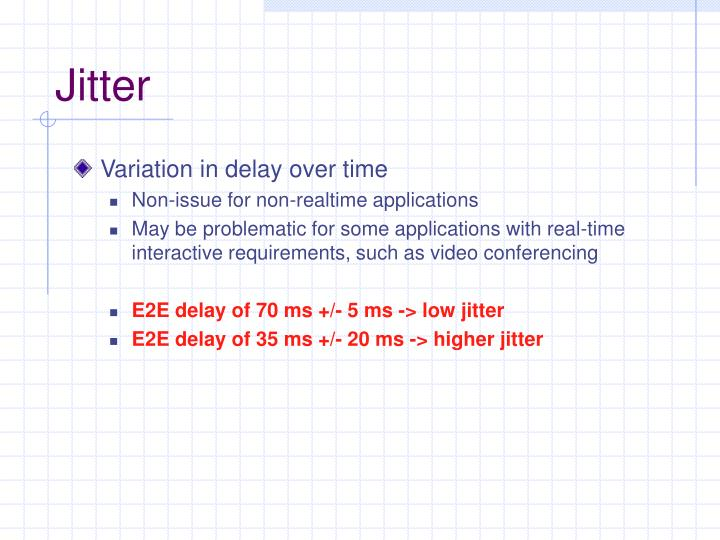Variation in delay over time