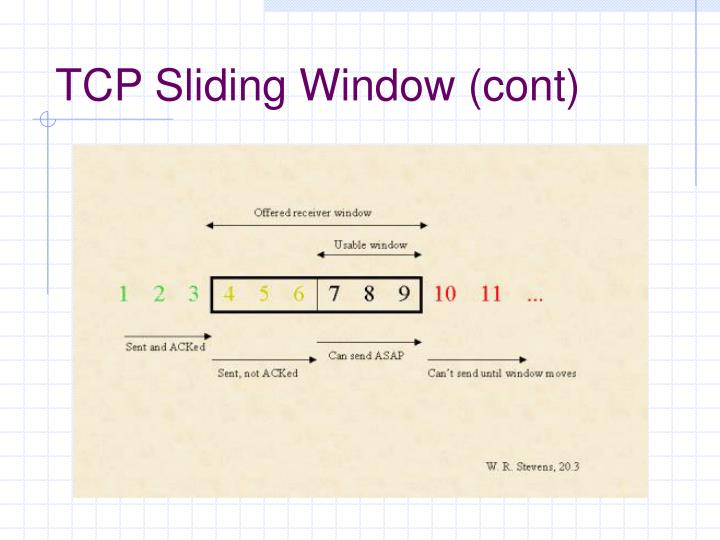 TCP Sliding Window (cont)