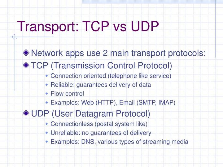Transport: TCP vs UDP