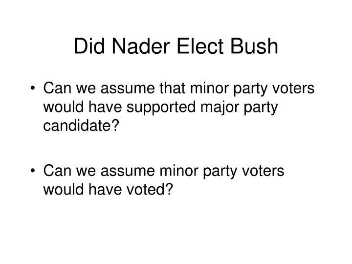 Did Nader Elect Bush